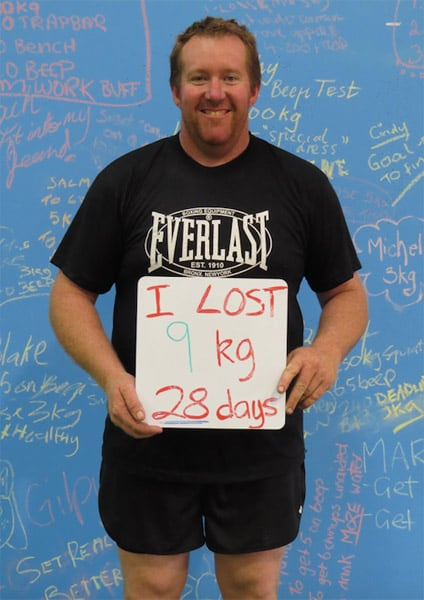 Stuart lost 9kgs in 28 days